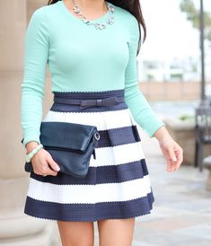 Spring Outfit: Mint and Navy Stripes