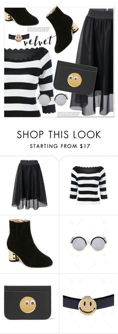"""golden smile"" by paculi ❤ liked on Polyvore featuring Sophie Hulme, white, black and stripes"