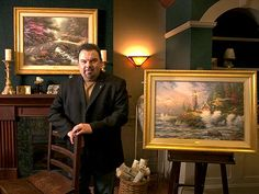 """Thomas Kinkade The self-described """"painter of light"""" – who likened himself to Walt Disney and his hero, Norman Rockwell, in his desire to make people happy – Thomas Kinkade Art, Thomas Kinkade Disney, Kinkade Paintings, Thomas Kincaid, Art Thomas, Fear The Walking Dead, Norman Rockwell, Before Us, Disney Art"""