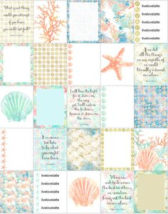 Seashells Coral Starfish (Mint, Coral) Erin Condren Vertical Planner Stickers…