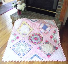 Grannie Hankies Designs has done it again! Presenting the latest crib quilt made from vintage hankies. So sweet, so feminine, so pretty, so