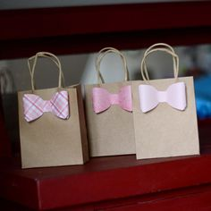 Custom Gift/Favor Bags  set of 3  with Bow/Bow Tie by rufflesnsuch