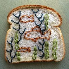 Artist Catherine McEver uses an unexpected medium for her embroidery projects: Wonder Bread.