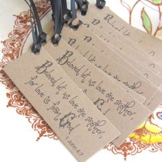 Christian wedding favor tags 12 rustic wedding by Artesenias. , via Etsy.