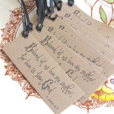 Christian wedding favor tags 12 rustic wedding by Artesenias. , via Etsy.
