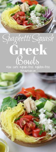 Spaghetti Squash Greek Bowls recipe is an easy, low carb meal perfect for packing as a lunch. Recipe includes secrets for cooking non-mushy spaghetti squash. Mix and match your favorite Greek toppings and drizzle on the popular dressing. A favorite stay in your skinny jeans meal! https://www.thefedupfoodie.com