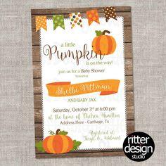 pumpkin fall rustic diaper shower baby shower invitation digital file