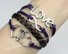 Silvery love infinity & heart to heart bracelet,wax rope woven rope jewelry gift