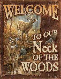 """This metal tin sign shows nature at its best with the deer and squirrels running around together. There sure is a sense of humor in these tin signs. Size 12.5""""x16"""""""