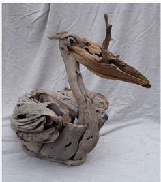 Driftwood Pelican by Tony Fredriksson of Open Sky Wood Art Driftwood Fish, Driftwood Sculpture, Sculpture Art, Ribbon Sculpture, Beach Wood, Beach Art, Deco Nature, Driftwood Projects, Wood Bird
