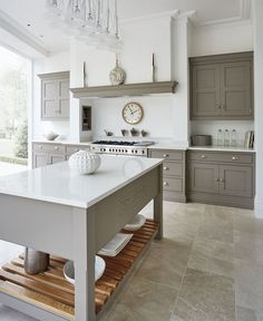 Contemporary impressive grey and white kitchen made personal with engraved Tom Howley logo. #kitchen #greykitchen #shaker #design #tomhowley