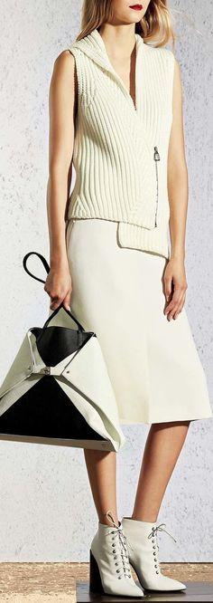 @roressclothes clothing ideas #women fashion white knit vest Akris Resort 2017 Fashion Show: