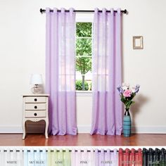 """Purple Crushed Voile Sheer Grommet Top Curtain 84""""L Pair - SL Best Home Fashion http://www.amazon.com/dp/B003EN97AY/ref=cm_sw_r_pi_dp_o-D1tb1SS8TB11B9"""