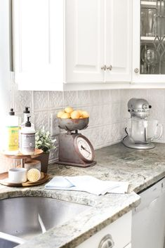 How to makeover a kitchen backsplash with a pressed tin farmhouse style inexpensively and in 6 hours, no power tools required. Shabby Chic Kitchen, Vintage Kitchen, Kitchen Decor, Kitchen Ideas, Kitchen Wood, Kitchen Art, Kitchen Designs, Backsplash Ideas For Kitchen, Cottage Kitchen Backsplash