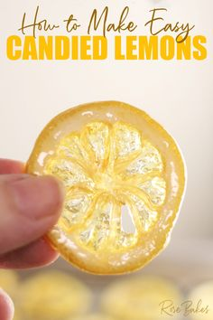 Learn How to Make Candied Lemons! Candied Lemons are thin slices of lemon, cooked in sugar, then dried until they have a beautiful glass-like look! They are perfect as garnish on cakes or desserts! If you love citrus, you might even eat them for snacks!