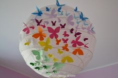 GIRLY DECOR - 3D rainbow butterfly paper lamp