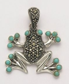 Wild Things Sterling Silver & Marcasite Frog Pendant w/Simulated Turquoise Eyes & Toe Pads