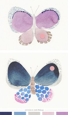 Color Inspiration Daily: 12 - Home - Creature Comforts Diy Butterfly, Butterfly Painting, Illustrations, Illustration Art, Design Seeds, Creature Comforts, Drawing, Doodle Art, Diy Art