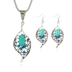 Tibetan Turquoise Chain Necklace Pendants Silver Plated Water Drop Shaped Stud Earrings Collar