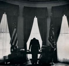 The weight of the world on the President's shoulders: President Kennedy during the Cuban Missile Crisis in October of 1962.  This event is considered the most intense episode during the Cold War.