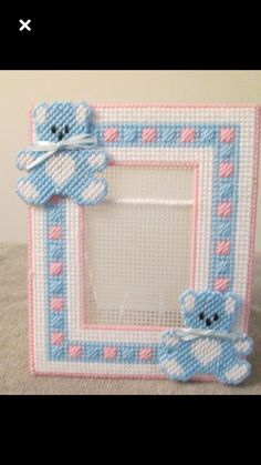 Photo Frame for Baby in Plastic Canvas by CraftsforSalebyJune on Etsy Plastic Canvas Coasters, Plastic Canvas Ornaments, Plastic Canvas Tissue Boxes, Plastic Canvas Christmas, Plastic Canvas Crafts, Plastic Canvas Patterns, Canvas Picture Frames, Canvas Frame, Baby Canvas
