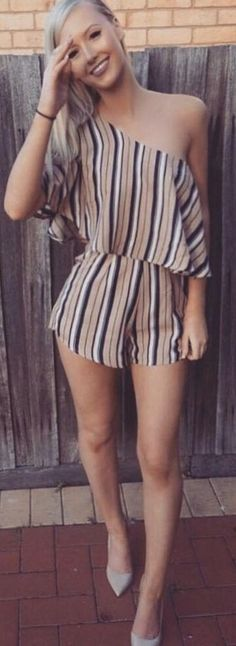 #whitefoxboutique #spring #Summer #outfitideas | One Shoulder Stripe Romper