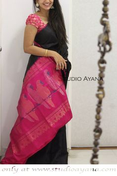 Online shopping from a great selection at Clothing & Accessories Store. Stylish Blouse Design, Fancy Blouse Designs, Bridal Blouse Designs, Cotton Saree Designs, Pattu Saree Blouse Designs, Latest Silk Sarees, Indian Silk Sarees, Silk Saree Kanchipuram, Kanjivaram Sarees
