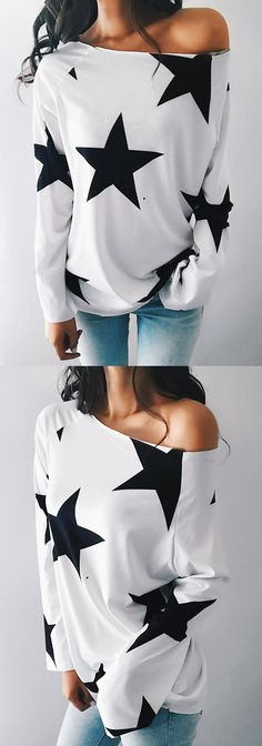 $26.99! Chicnico Teenage Girls One Shoulder Star Print Long Sleeve Top Get ready for Fall fashion! Find fashionable outfits for the new