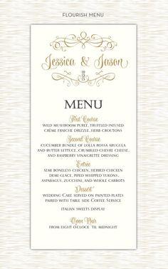 DIY Flourish wedding menu elegant design black and gold by itcoa, $15.00