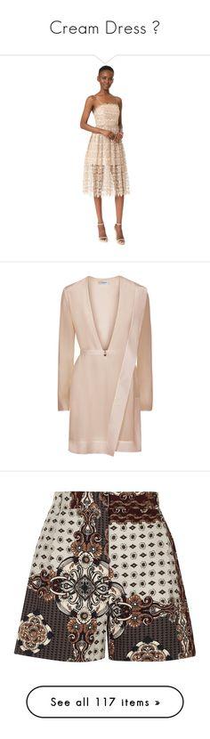 """Cream Dress 🍦"" by izzystarsparkle ❤ liked on Polyvore featuring dresses, gold, alice olivia dress, spaghetti strap lace dress, spaghetti strap sequin dress, metallic dress, open back lace dress, vestidos, short dresses and beige"