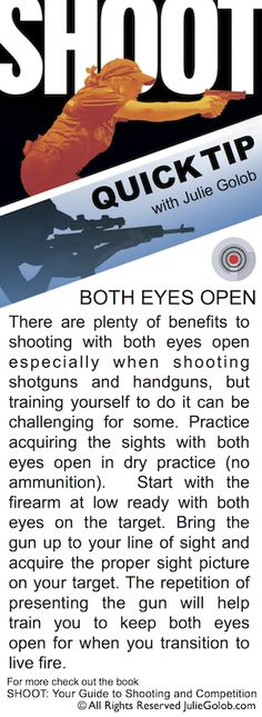 SHOOTing Tip - How to Train to Keep Both Eyes Open This is a must learn. It opens a whole new world of possibilities.