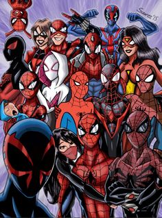 ultimatejules: The spider-verse selfie! I entered a contest, the theme was Superhero selfie, so I chose my favorite superhero, SPIDERMAN, If you are involved in the world of comics, there is an spidey event going on right now, SPIDERVERSE, where all the spider-men (and women) join against a common enemy, so what's better than spider-man taking a selfie? A whole bunch of spider-men (and women) taking a group selfie! Be sure to check out the process of this drawing on my instagram account…