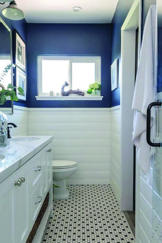 Most Popular shiplap and navy bathroom for 2019