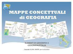 Mappe concettuali su elementi di geografia e sulla geografia dell'Italia. Un PDF di 36 pagine. Molte delle mappe concettuali sono abbinate a mappe di verifica, mappe con alcuni spazi vuoti da riempire di contenuti. Indice Mappe 3. LA GEOGRAFIA, cos'è?...