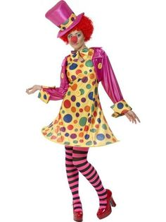 Adult 16-18 Hooped Circus Clown Fancy Dress Costume Ladies Womens Female