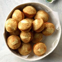 Lemon Yeast Puffs Recipe -The lemon flavor in these yeast muffins makes them unique. My husband is a minister, and we're invited to many potlucks. People love these muffins. Lemon Recipes, Bread Recipes, Baking Recipes, Muffin Recipes, Hot Cheese Dips, Strawberry Oatmeal Bars, Strawberry Pie, Church Picnic, Church Potluck