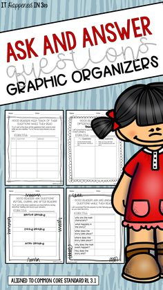 These graphic organizers are aligned to RL 3.1 and are great for all things literature! Scaffolded options available to get students on the path to asking and answering their own questions while reading.