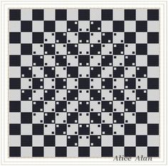 Cross Stitch Pattern-Abstract with optical effect on chess Board (style minimalism) Counted Cross Stitch Pattern/Instant Download Epattern