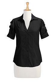I <3 this Ruched sleeve cotton poplin shirt from eShakti
