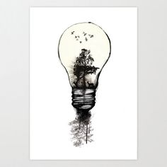 Lamp - Ink...I really enjoy this ink drawing. I like the combination of nature and technology. Super cool.