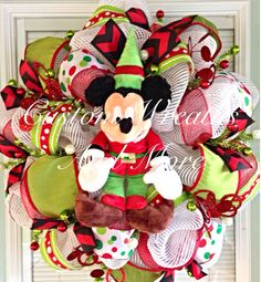 Mickey Mouse christmas wreath  on Etsy, $115.00 Mickey Craft, Mickey Mouse Wreath, Disney Wreath, Mickey Mouse Christmas, Disneyland Christmas, All Things Christmas, Christmas Holidays, Christmas Crafts, Christmas Ornaments