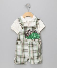 Take a look at this Green Later Gator Polo & Shortalls - Infant by Little Rebels on #zulily today!