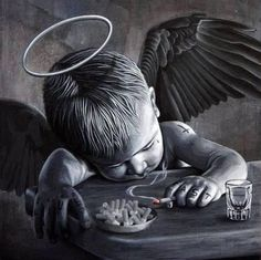 Biker baby boy Angel & little bit Devil Art Chicano, Chicano Tattoos, Body Art Tattoos, Tatoos, Fantasy Kunst, Fantasy Art, Mago Tattoo, Tattoo Drawings, Art Drawings