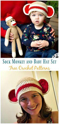 e514775fd79 Sock Monkey and Baby Hat Set Crochet Free Pattern - Sock  Monkey   Hat