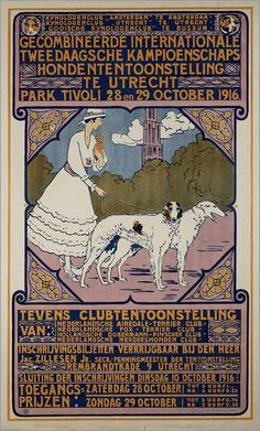 ❤ =^..^= ❤ Poster for the 1916 Utrecht Dog Show, 1916.