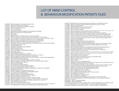 List of Mind Control & Behaviour Modification Patents Filed. Search them here to confirm: United States Patent and Trademark Office http://patft.uspto.gov