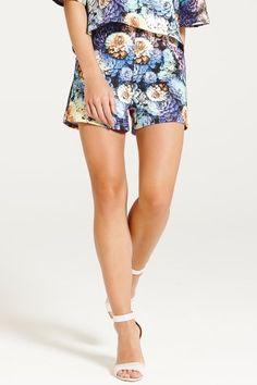 Paper Dolls Multi Blue Floral Shorts