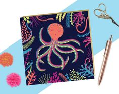 Colourful Octopus Card Octopus Illustration Quirky Birthday