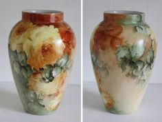 Antique Limoges Vase Hand Painted Roses