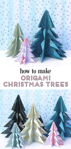 Learn How To Make Easy Diy Origami Christmas Trees Decorations. A Quick And Easy Last Minute Holiday Project That Takes No Time At All Origami Christmas Tree, How To Make Christmas Tree, Christmas Crafts For Kids, Christmas Tree Decorations, Holiday Crafts, Christmas Diy, Christmas Trees, Origami Xmas Decorations, Simple Christmas